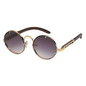 Other - Round Gold Trim Wood Temple Sunglasses
